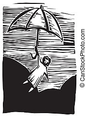 Umbrella Flying - Woodcut person holds onto an umbrella...