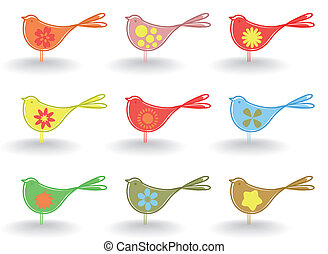 Birdie - Set of small cheerful birdies. A vector...