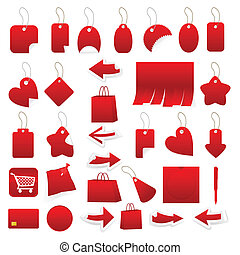 Collection of price lists of red colour. A vector...