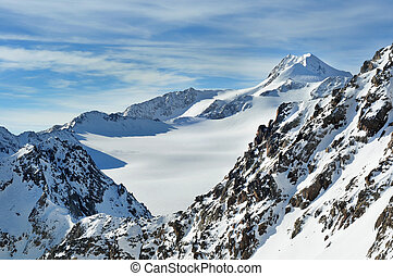 vacker,  wildspitze,  Mountains, Vinter