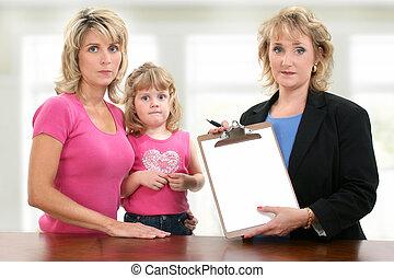 genitore, insegnante, bambino, conferenza, riunione