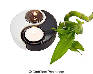 Candlestick yin-yang, candle and bamboo - Candlestick...