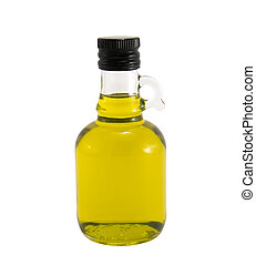 Olive oil in original bottle on a white background close-up