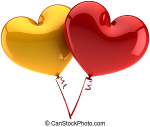 Heart balloons golden and red