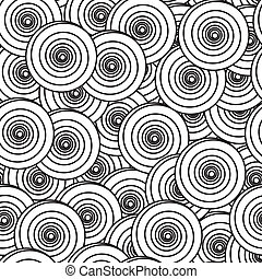 Abstract background with spiral circles - Black-and-white...