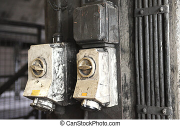 Old industrial light switches