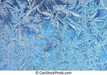 Hoarfrost texture - Wintry hoarfrost background on a window