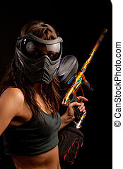 Paintball player - Image of a paintball player in protective...