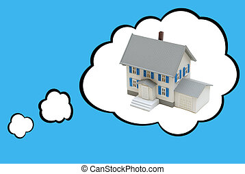 Dream House Concept - Thought bubbles surround a tiny house...