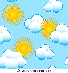 Abstract sky background with clouds and sun