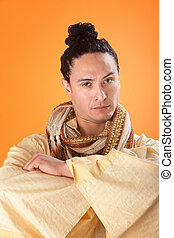Robed Asian Man - A serious looking japanese samurai on...