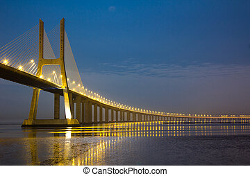 Vasco da Gama bridge under moonlight - Long Vasco da Gama...