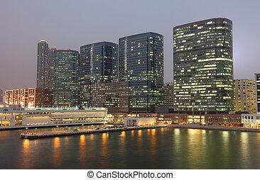 Highrise waterside buildings in Hong Kong Kowloon