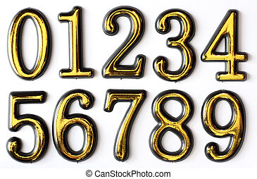 Numbers 0 to 9 - Golden bright numbers on a white...