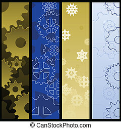 Gear banners - Four banners featuring industrial gears...