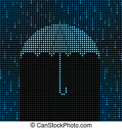 Grid rain - Umbrella and rain background composed of led...