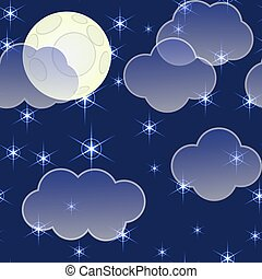 Abstract night background with clouds and stars - Abstract...