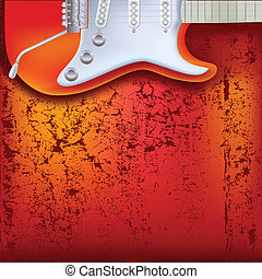abstract red cracked background electric guitar - abstract...
