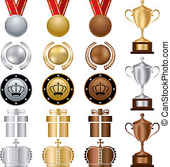 Gold Silver bronze Awards Set - Illustration vector