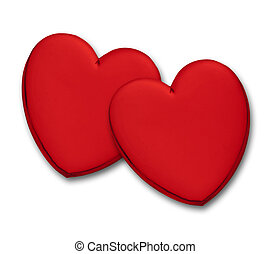 Two glossy red hearts on white background