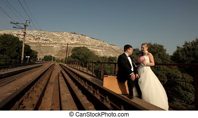 Bride and groom go to travel