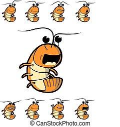 Shrimp Character - Orange shrimp character in various facial...