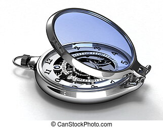Pocket watches - Classic chrome pocket watch with a glass...