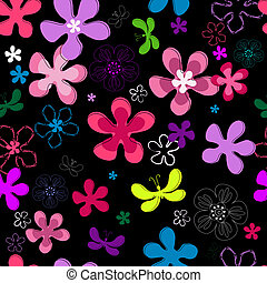 Black repeating floral pattern with vivid flowers and...