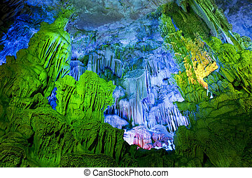 China - The beautifully illuminated Reed Flute Caves located...