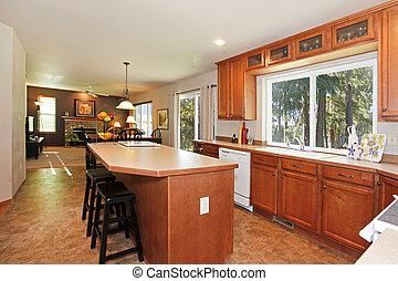 Kitchen with oak cabinets and a view of living room