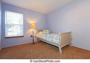 Blue bedroom with small bed and kids bedding - Purple...