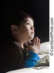dizendo, seu, orações, antes de, cama