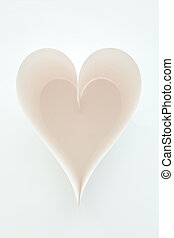 Symbol of love - Form of heart made up of blank paper sheet...