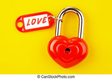 Symbol of love - Image of red lock with love label on a...