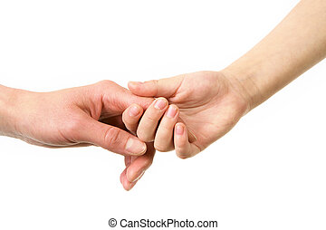By hands - Mother and child hold by hands on a white...