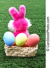 Easter - Rear view of pink bunny with Easter eggs in basket...