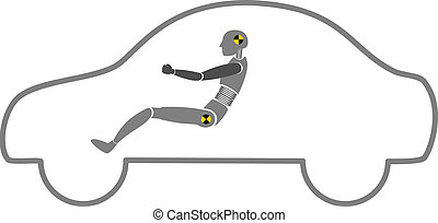 crash test dummy in car outline vector on white background