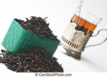 dry tea leaves in a box