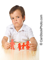 Divorce concept with sad kid-focus on hands - Divorce...
