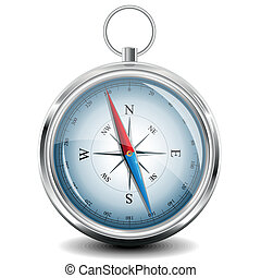 Compass with windrose. Vector Illustration. - Glossy Compass...