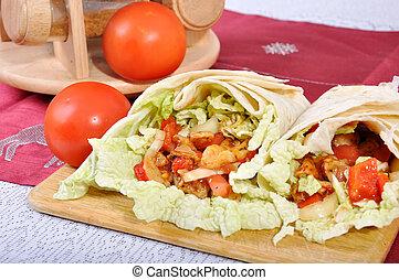 tradicional, alimento,  -,  kebab, turco