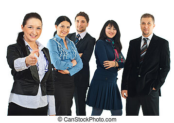 Business woman welcome sign hand gesture and her team...
