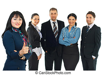 Successful business group of people with a businesswoman...