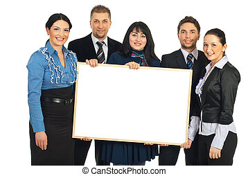 Happy teamwork holding blank banner - Happy teamwork of five...
