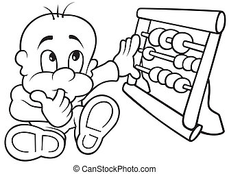 Baby and Abacus - Black and White Cartoon illustration,...