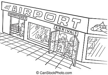 Airport - Black and White Cartoon illustration, Vector