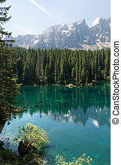 Lake Carezza in Trentino - Rosengarten reflection on Lake...