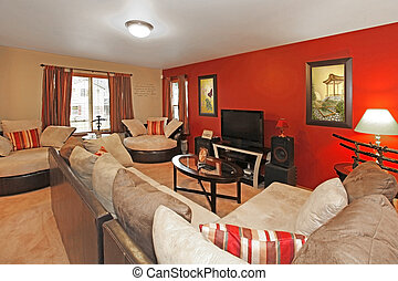 Asian style of living room with red wall - Asian style of...