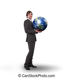 business man with a globe