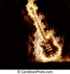 elettronico, chitarra, enveloped, fiamme